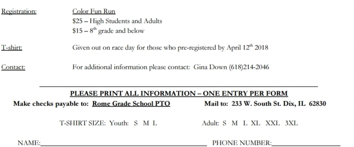 Rome Pto Color Fun Run Calendar Of Events